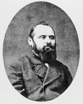 XJF343684 Mily Balakirev (b/w photo) by Russian Photographer, (19th century); black and white photograph; Private Collection; (add. info.: Mily Alexeyevich Balakirev (1837-1910) Russian composer; he brought together 'The Five', which included himself plus Cesar Cui, Modest Mussorgsky, Nikolai Rimsky-Korsakov and Alexander Borodin; also called 'The Mighty Handful'); Russian, out of copyright